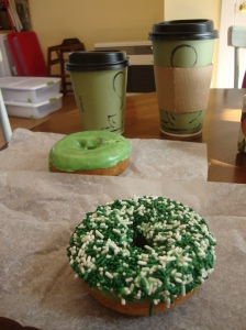 Handcut donuts for St. Patty's Day breakfast