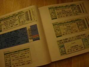 Book of concert ticket stubs