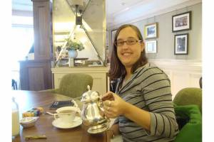 Having tea at Harrods during our last go-round in 2011