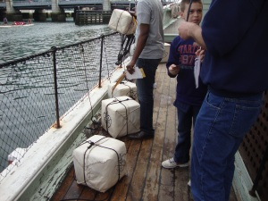 Tea waiting to be thrown in the harbor