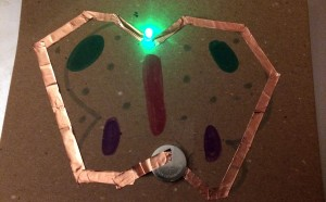 Butterfly paper circuit: LED light, battery, and copper tape